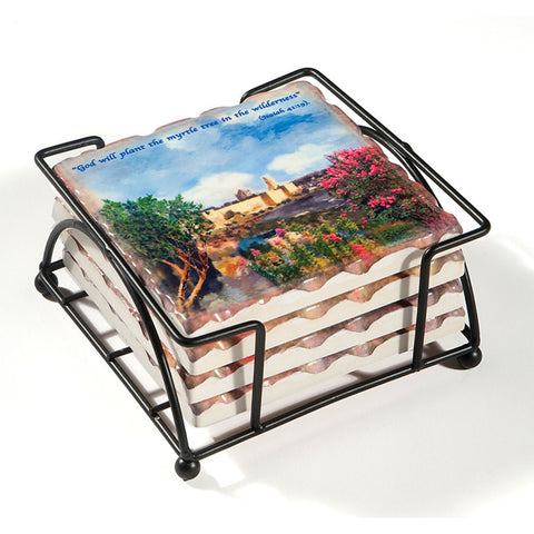 Jerusalem Landscape Ceramic Coasters - Holy Land Gifts