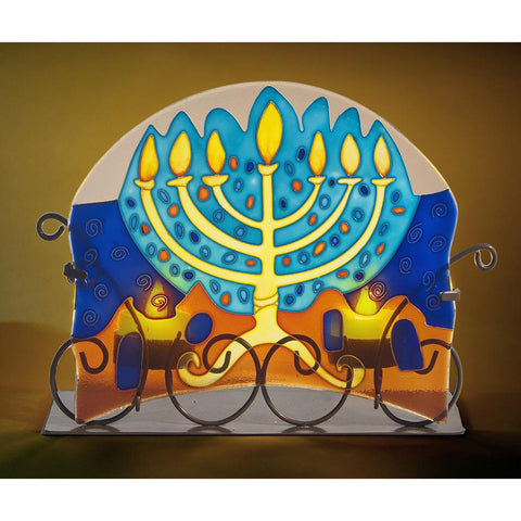 Glass Shabbat Candle Holder - Holy Land Gifts