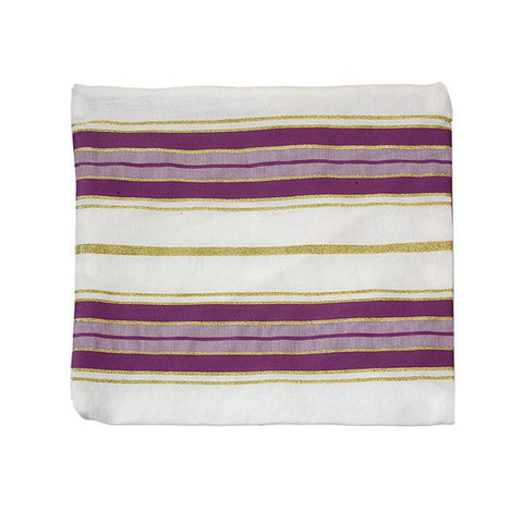 Purple & White Acrylic Tallit Bag