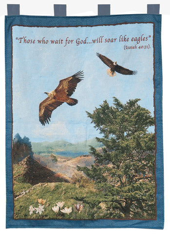 """Soar Like Eagles"" Blue Scenic Tapestry - Holy Land Gifts"