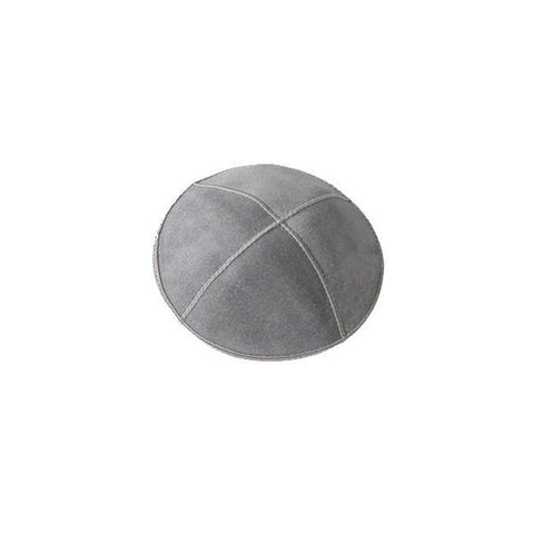 Gray Suede Leather Kippah - Holy Land Gifts