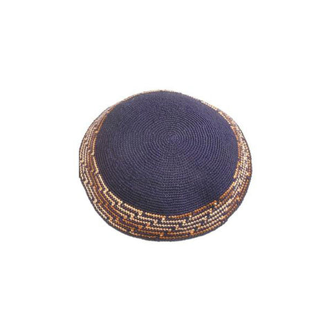 Navy & Brown Crocheted Kippah
