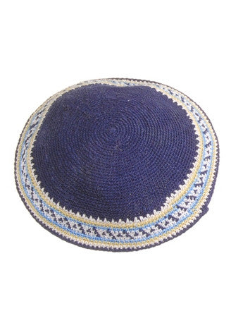 Crocheted Navy & White Crocheted Kippah