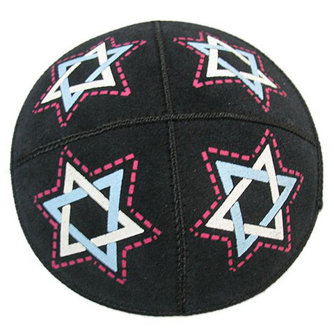 Stars of David Leather Kippah