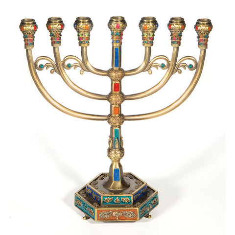 Colored 12 Tribes Symbols 7-Branch Menorah - Holy Land Gifts