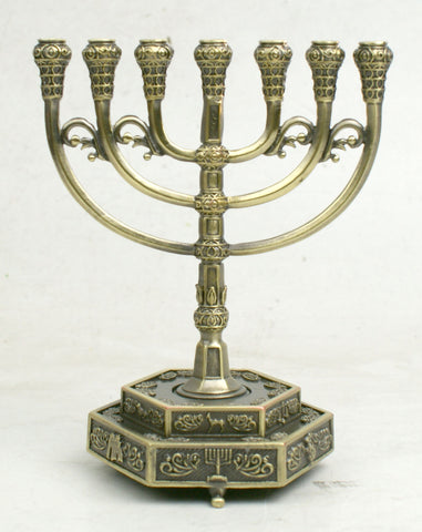 12 Tribes Symbols 7-Branch Menorah - Holy Land Gifts