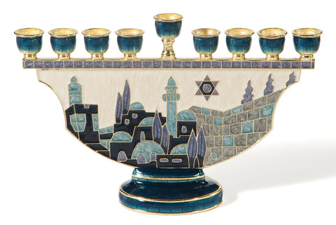 Blue Metal Jerusalem Hanukkiah - Holy Land Gifts