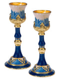 Painted Blue Pewter Candleholders