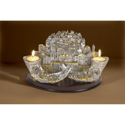 Candle Holder - 2 Shofars - Holy Land Gifts