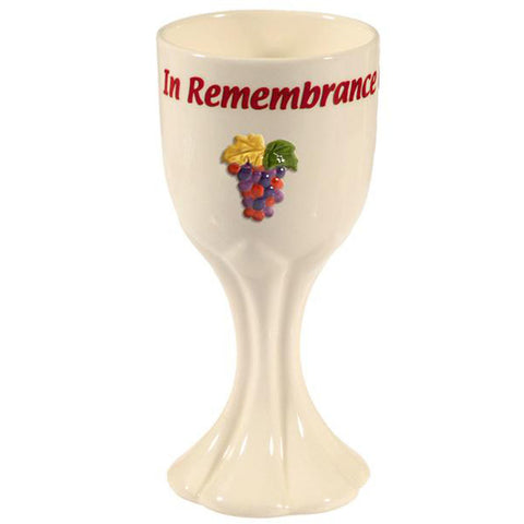 """In Remembrance of Me"" Ceramic Wine Cup - Holy Land Gifts"