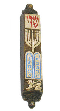 Shaddai and Ten Commandments Brass Mezuzah - Holy Land Gifts