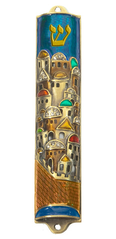 Jerusalem Wall Pewter Mezuzah