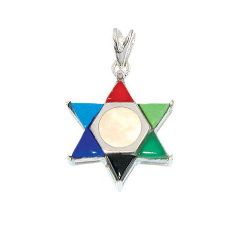 Mother of Pearl & Eilat Stones Star of David Necklace