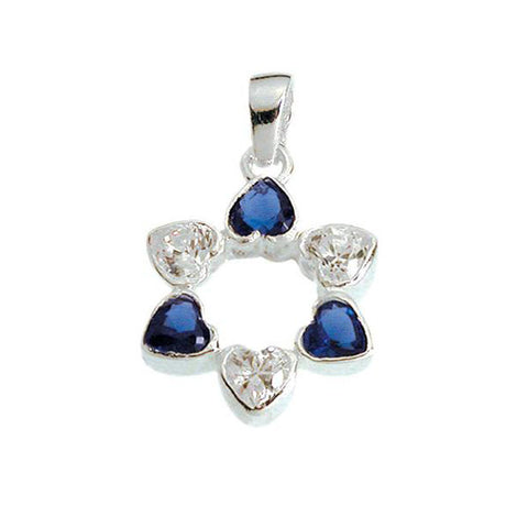 Star of David Silver Necklace with Blue Eilat Stones