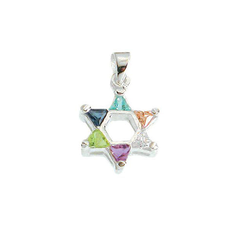 Rainbow Crystal and Zirconia Star of David Necklace