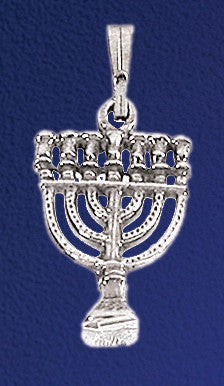 Menorah Silver Pendant Necklace - Holy Land Gifts