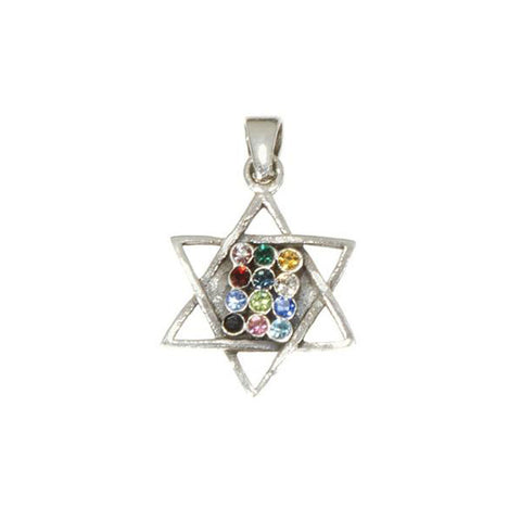 Star of David with 12 Tribes Stones Necklace
