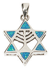 Opal Star of David and Menorah Necklace