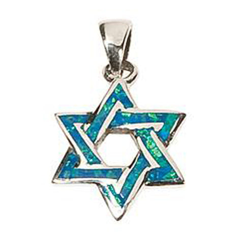 Silver Opal Star of David Necklace
