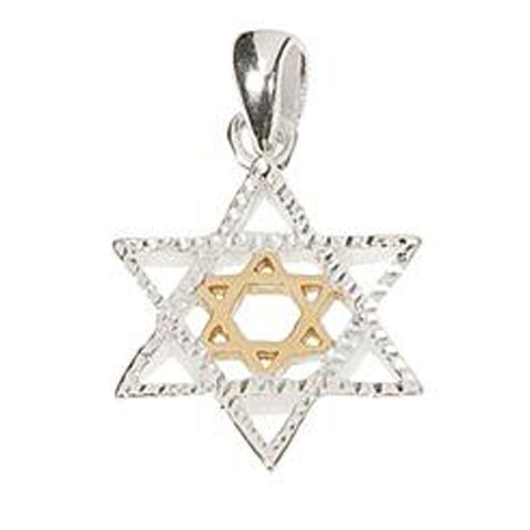 Silver & Gold Star of David Necklace - Holy Land Gifts