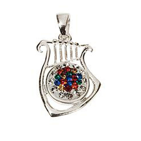 12 Tribes Silver Harp Pendant - Holy Land Gifts