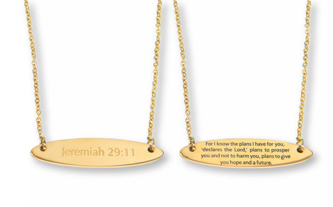 Jeremiah 29:11 Gold Bar Necklace