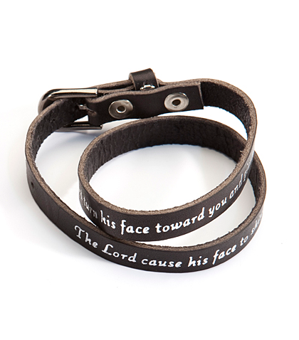 Numbers 6:25 Black Leather Bracelet
