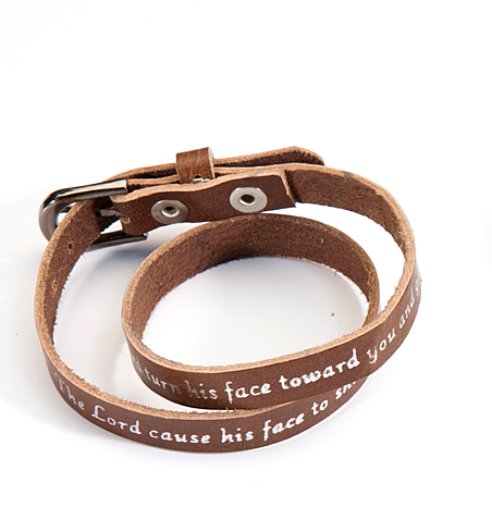 Numbers 6:25 Brown Leather Bracelet
