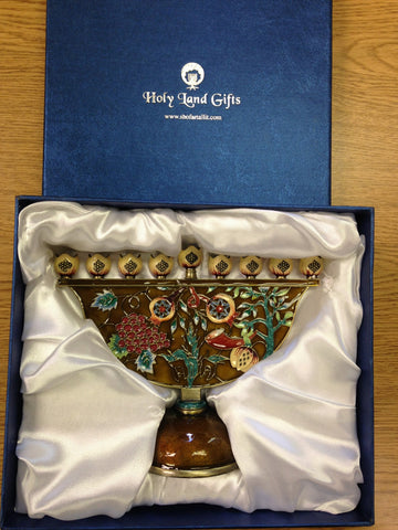 Grapes and Shofar Chanukiah - Holy Land Gifts