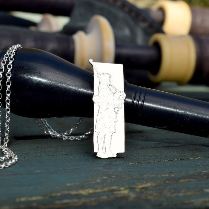 Bagpipes jewellery, silver bagpiper necklace