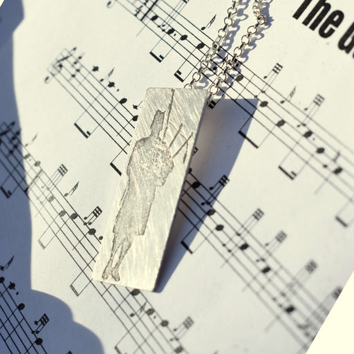Bagpiper necklace, bagpiper jewellery, Scottish bagpiper gift