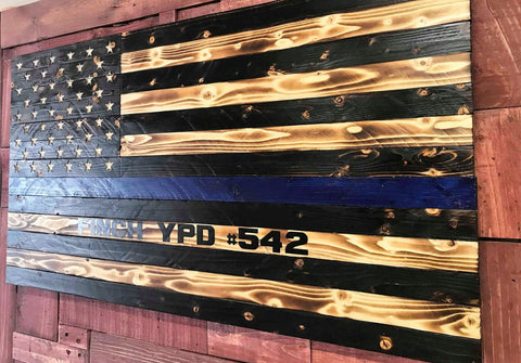 US Torched Police Blue Line