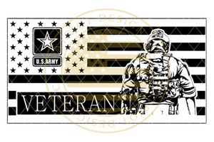 Stealth Series Army Veteran Soldier Flag