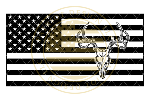 Stealth Series Deer Skull American Flag