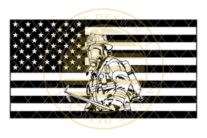 Firefighter Centered American Flag