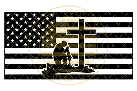 Stealth Series Kneeling Soldier at the Cross Flag