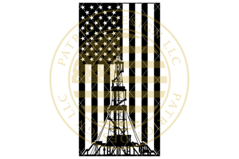 Oil Rig Vertical American Flag