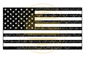 Police Officer Prayer American Flag