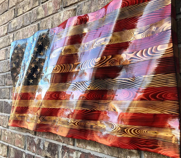 US Rustic Wavy Flag