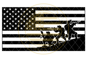 Soldiers Silhouette American Flag