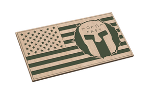 Tattered Circle Flag with Spartan Helmet
