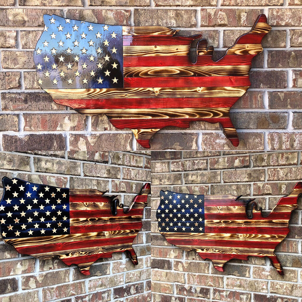 USA Shape Rustic Flag