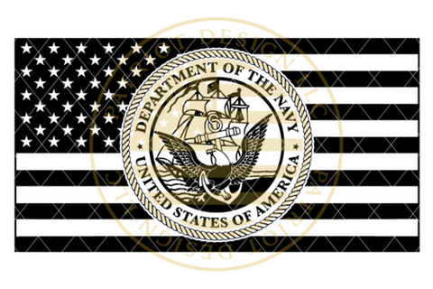 US Navy Seal Centered American Flag