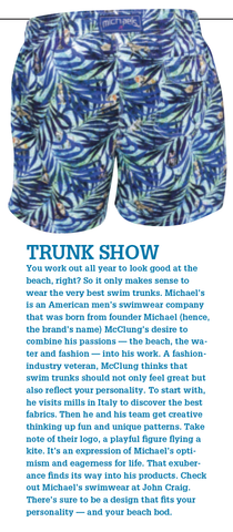 Michael's Gorillas swim trunks feature in John Craig Magazine