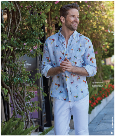 Michael's 'Watches' Linen Shirt featured in John Craig 2017 Spring/Summer Magazine