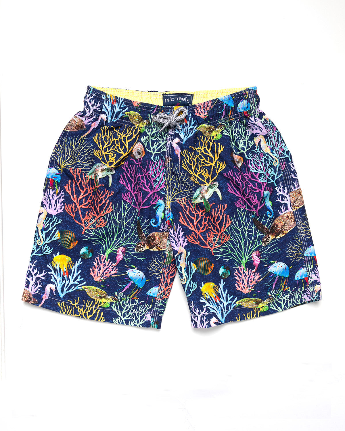 2622590b95 Men's Coral & Turtles Print Swim Trunk With Cyclist Liner- Navy