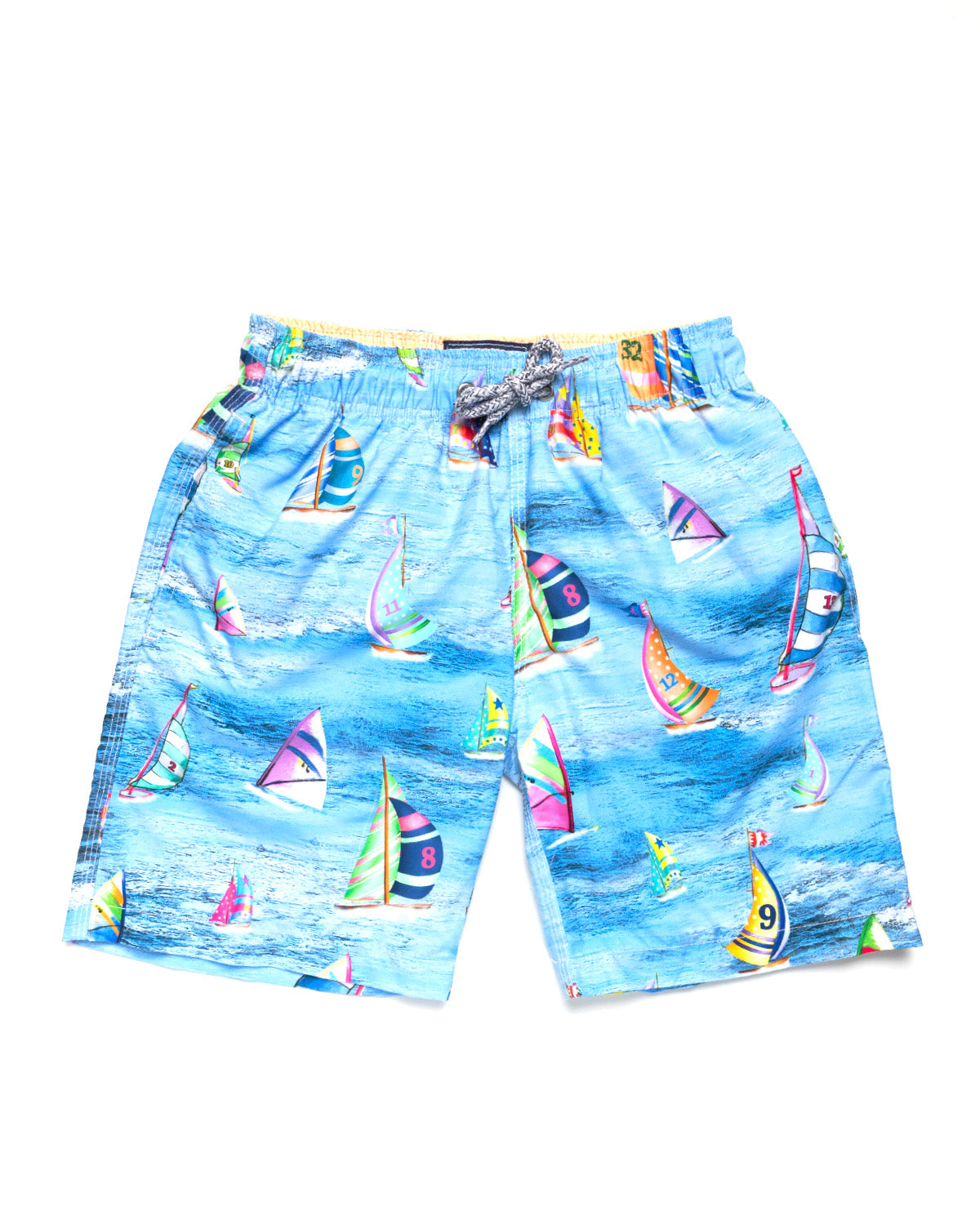 d072669d84 Boy's Sailboat Racing Print Swim Trunk- Blue