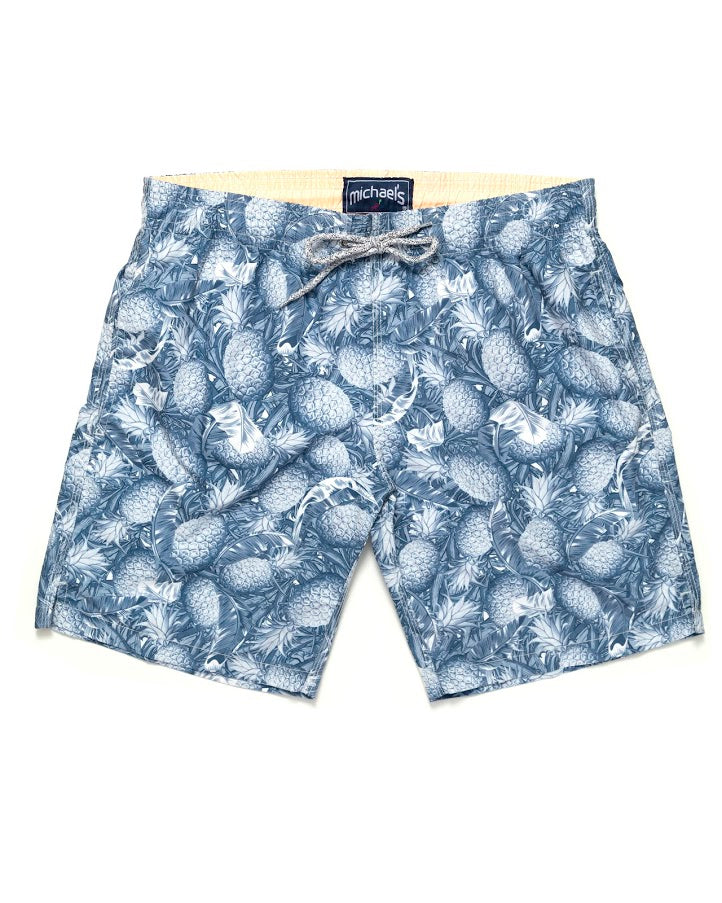569de4cc5b Men's Pineapple Print Swim Trunks- Navy - Michael's Swimwear