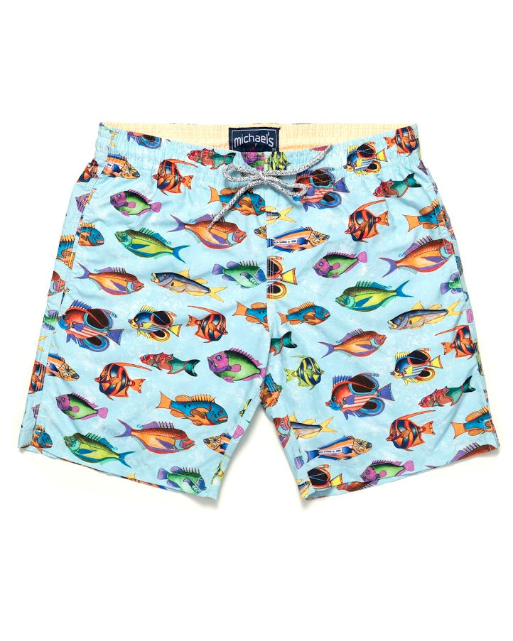 e9c11011b9 Men's Pre-Historic Fish Print Swim Trunks With Cyclist Liner- Blue