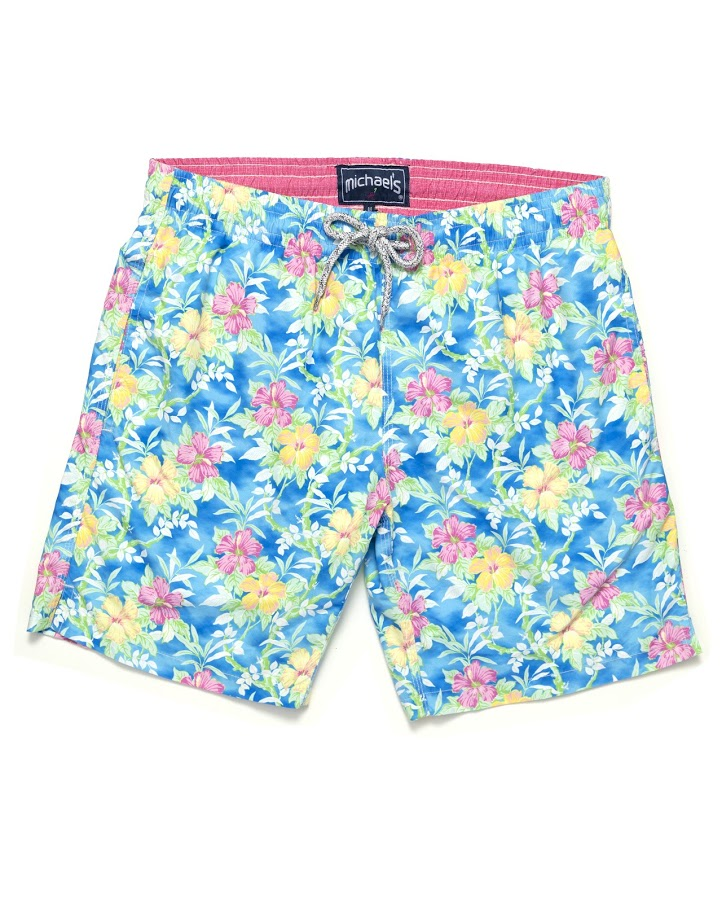 aebe251c8a Men's Floral Print Swim Trunks- Turquoise